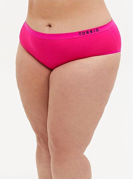 Torrid Logo Neon Pink Microfiber Active Hipster Panty, SUPERSONIC, hi-res