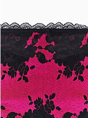Plus Size Hot Pink Microfiber & Black Lace Mesh Back Hipster Panty , SUPERSONIC, alternate