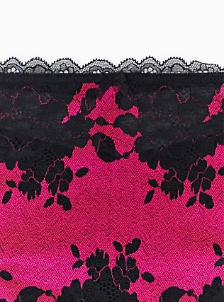 Hot Pink Microfiber & Black Lace Mesh Back Hipster Panty , SUPERSONIC, alternate