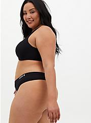 Plus Size Torrid Logo Black Microfiber Active Thong Panty, RICH BLACK, alternate