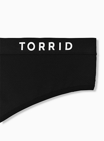 Plus Size Torrid Logo Black Microfiber Active Thong Panty, RICH BLACK, alternate