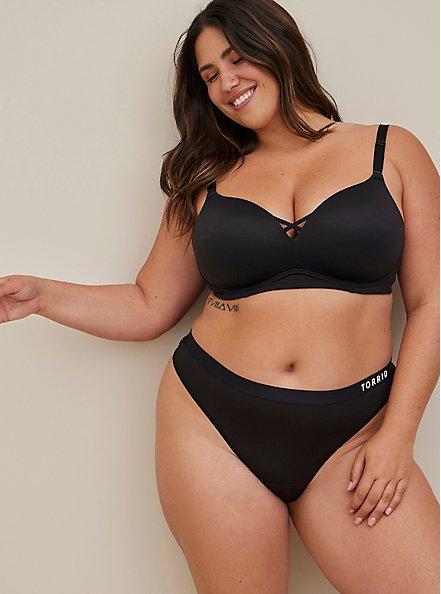 Plus Size Torrid Logo Black Microfiber Active Thong Panty, RICH BLACK, hi-res