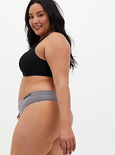 Plus Size Torrid Logo Grey Microfiber Active Thong Panty, SILVER FILAGREE, alternate