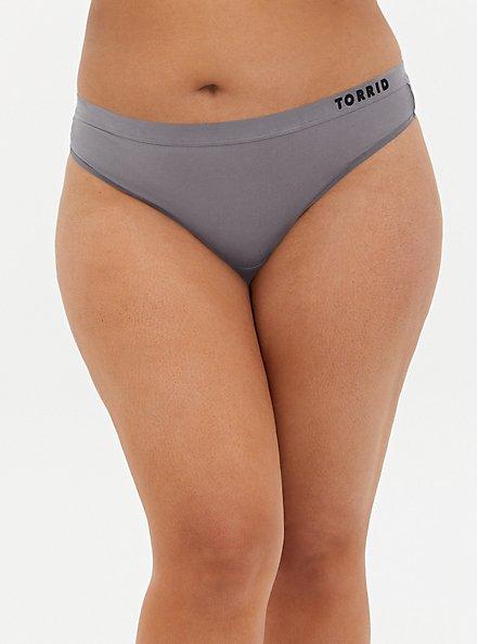 Plus Size Torrid Logo Grey Microfiber Active Thong Panty, SILVER FILAGREE, hi-res