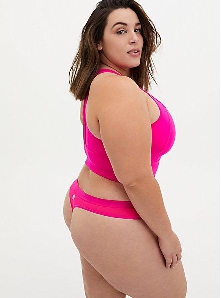 Plus Size Torrid Logo Neon Pink Microfiber Active Thong Panty, SUPERSONIC, alternate