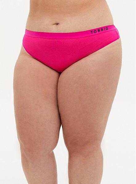 Plus Size Torrid Logo Neon Pink Microfiber Active Thong Panty, SUPERSONIC, hi-res
