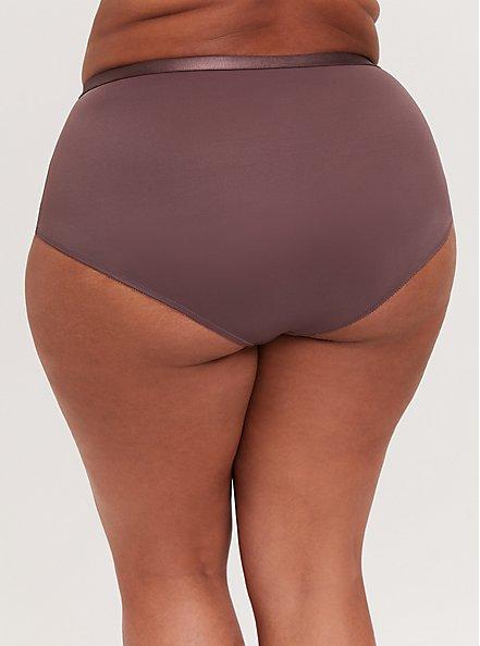 Plus Size Light Raisin Brown Microfiber 360° Smoothing Brief Panty, MOLASSES BROWN, alternate