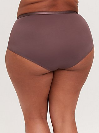 Plus Size Light Raisin Brown Microfiber 360° Smoothing Brief Panty, MOLASSES BROWN, alternate