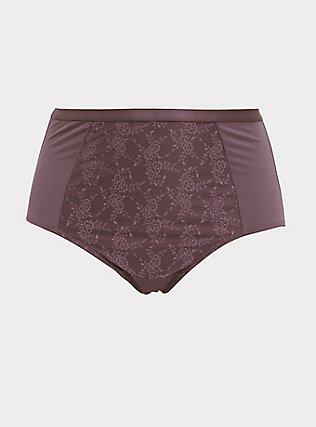 Plus Size Light Raisin Brown Microfiber 360° Smoothing Brief Panty, MOLASSES BROWN, flat
