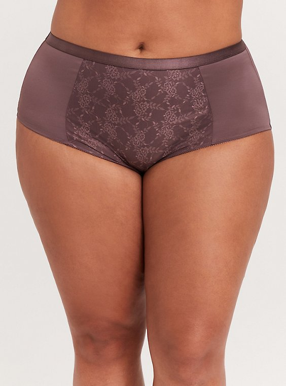 Plus Size Light Raisin Brown Microfiber 360° Smoothing Brief Panty, , hi-res