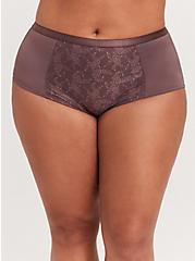 Brown Microfiber 360° Smoothing Brief Panty, MOLASSES BROWN, hi-res