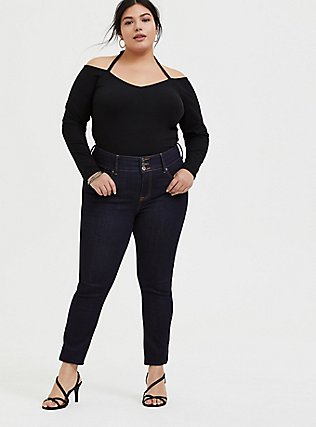 Black Halter Cold Shoulder Long Sleeve Foxy Top, DEEP BLACK, alternate