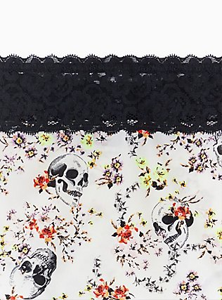 White Skull Floral & Black Wide Lace Shine Cheeky Panty , SKULL WOVEN FLORAL WHITE, alternate