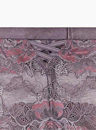 Slate Grey & Purple Lace Lattice Cheeky Panty , MUTED VIOLET PURPLE, alternate