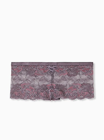 Slate Grey & Purple Lace Lattice Cheeky Panty , MUTED VIOLET PURPLE, hi-res