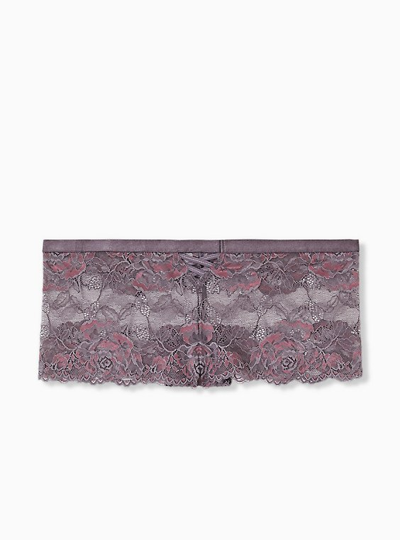 Slate Grey & Purple Lace Lattice Cheeky Panty , , hi-res