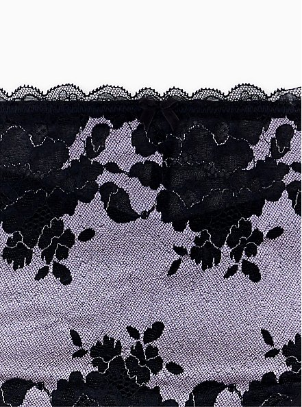 Lilac Purple Microfiber & Black Lace Mesh Back Hipster Panty , CLOUDED OPAL LAVENDER, alternate
