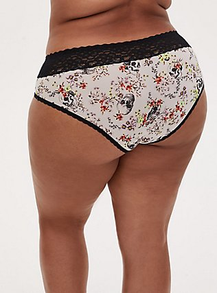 White Skull Floral & Black Wide Lace Shine Hipster Panty , SKULL WOVEN FLORAL WHITE, alternate