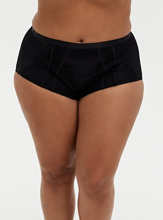 Plus Size Black Microfiber & Lace 360° Smoothing Brief Panty, , hi-res