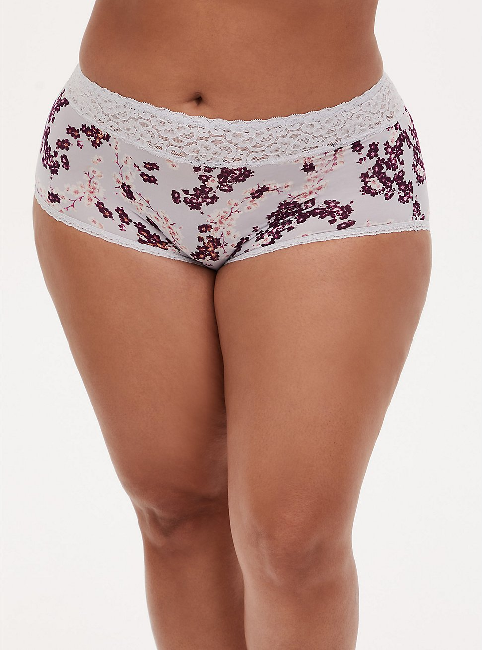 Light Grey Floral Wide Lace Shine Brief Panty, CHERRY SPRING FLORAL GREY, hi-res
