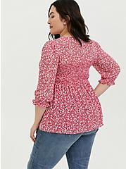 Fuchsia Pink Floral Chiffon Smocked Babydoll Blouse, FLORALS-PINK, alternate