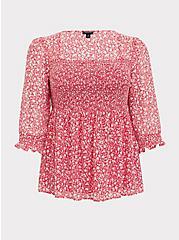 Fuchsia Pink Floral Chiffon Smocked Babydoll Blouse, FLORALS-PINK, hi-res