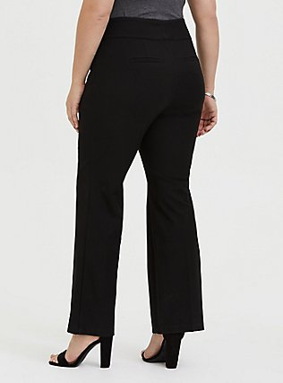 Plus Size Structured Twill Relaxed Boot Leg Pant - Black , DEEP BLACK, alternate