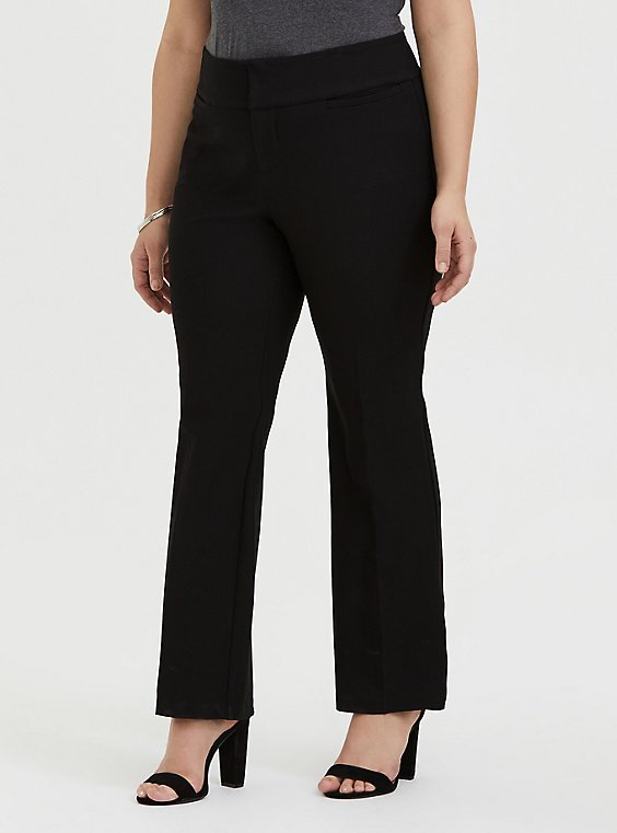 Relaxed Boot Leg Pant - Structured Twill Black , DEEP BLACK, hi-res