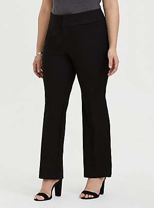 Plus Size Structured Twill Relaxed Boot Leg Pant - Black , DEEP BLACK, hi-res
