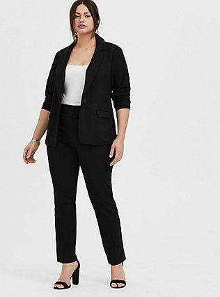 Plus Size Structured Twill Straight Leg Pant - Black, DEEP BLACK, alternate
