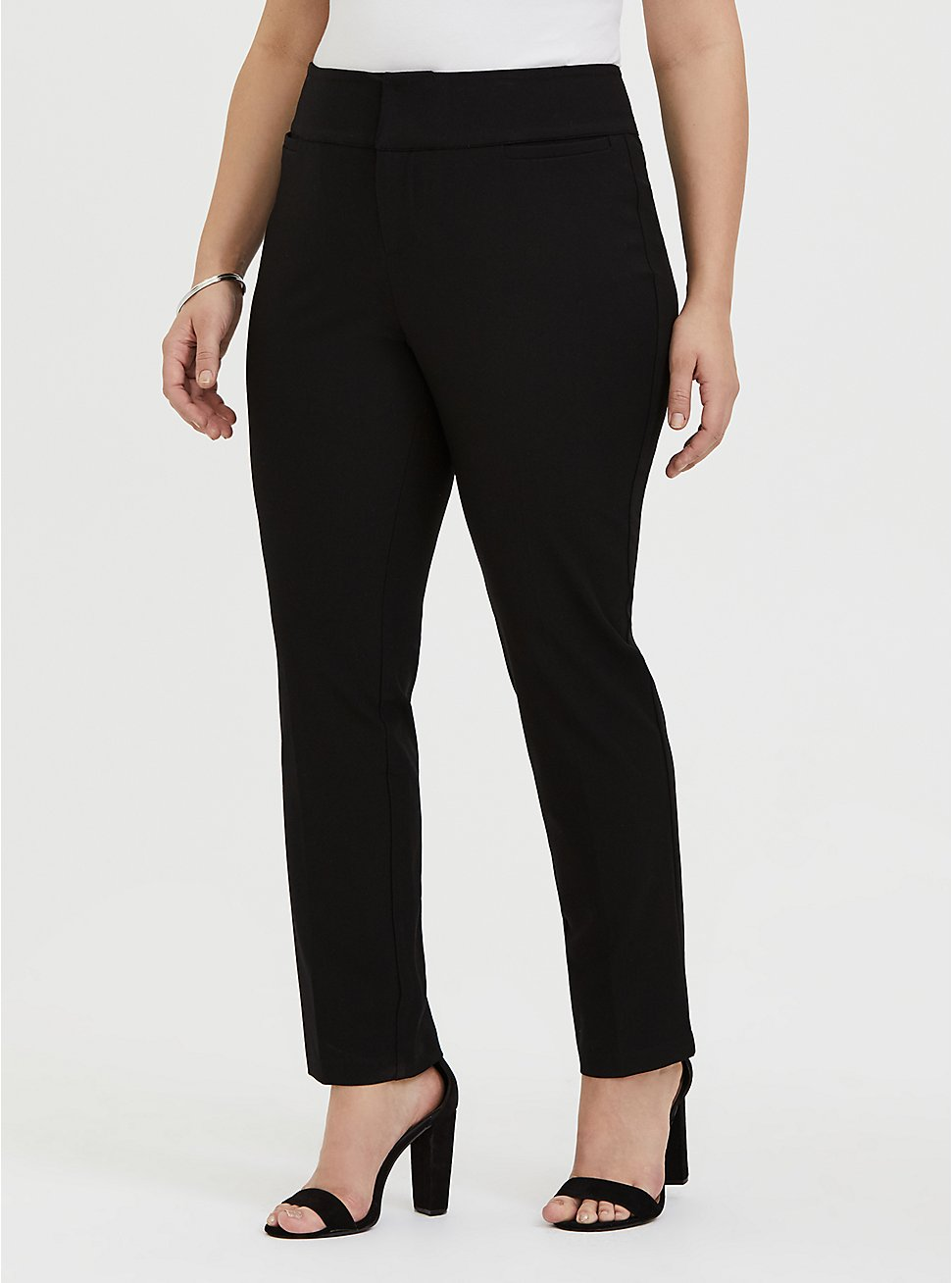 Plus Size Structured Twill Straight Leg Pant - Black, DEEP BLACK, hi-res