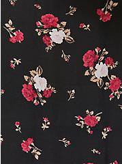 Black Floral Crepe Button Bodysuit, FLORALS-BLACK, alternate
