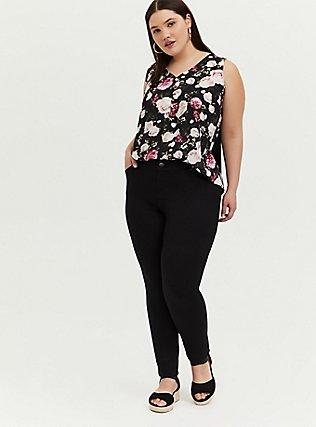 Black Floral Georgette Knit to Woven Button Tank, FLORALS-BLACK, alternate