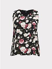 Black Floral Georgette Knit to Woven Button Tank, FLORALS-BLACK, hi-res
