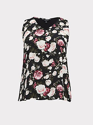 Black Floral Georgette Knit to Woven Button Tank, FLORALS-BLACK, flat