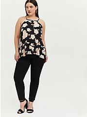 Plus Size Black Floral Georgette Drop Waist Hi-Lo Cami, FLORALS-BLACK, alternate
