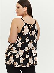 Black Floral Georgette Drop Waist Hi-Lo Cami, FLORALS-BLACK, alternate