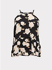 Plus Size Black Floral Georgette Drop Waist Hi-Lo Cami, FLORALS-BLACK, hi-res