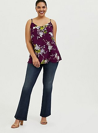 Sophie - Plum Purple Floral Crinkle Gauze Swing Cami, FLORALS-PURPLE, alternate