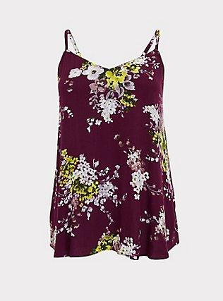 Sophie - Plum Purple Floral Crinkle Gauze Swing Cami, FLORALS-PURPLE, flat