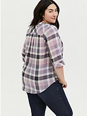 Purple & Pink Plaid Button Front Camp Tunic, , alternate