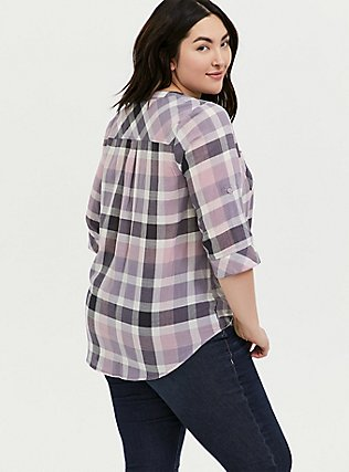 Purple & Pink Plaid Button Front Camp Tunic, PLAID - BLACK, alternate