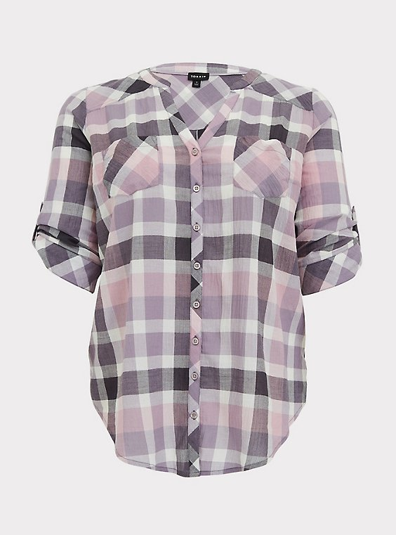 Purple & Pink Plaid Button Front Camp Tunic, , flat