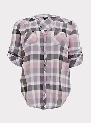 Purple & Pink Plaid Button Front Camp Tunic, PLAID - BLACK, flat