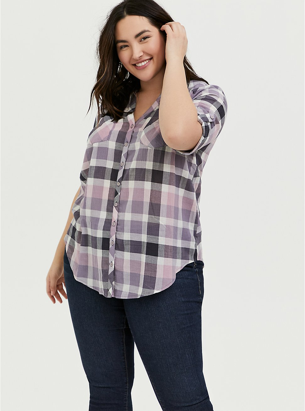Purple & Pink Plaid Button Front Camp Tunic, , hi-res