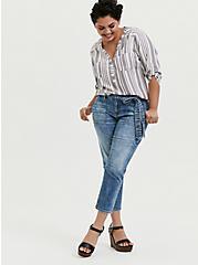 Harper - White & Slate Grey Stripe Pullover, STRIPES, alternate
