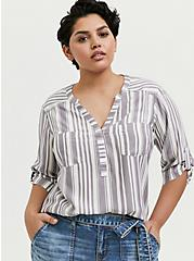 Harper - White & Slate Grey Stripe Pullover, STRIPES, hi-res