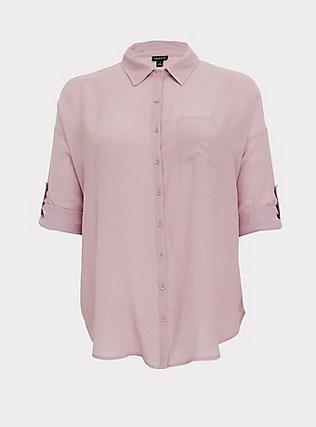 Mauve Pink Gauze Drop Shoulder Button Front Tunic, MAUVE SHADOWS, flat