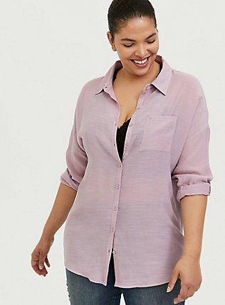 Mauve Pink Gauze Drop Shoulder Button Front Tunic, MAUVE SHADOWS, hi-res