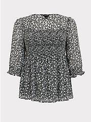 Black & White Floral Chiffon Smocked Babydoll Blouse, FLORALS-BLACK, hi-res